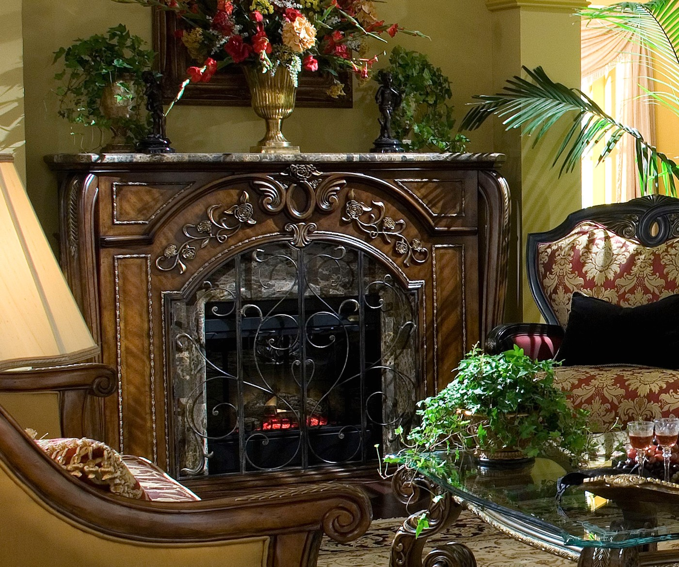 Michael Amini Oppulente Fireplace w/Marble Top & Electric