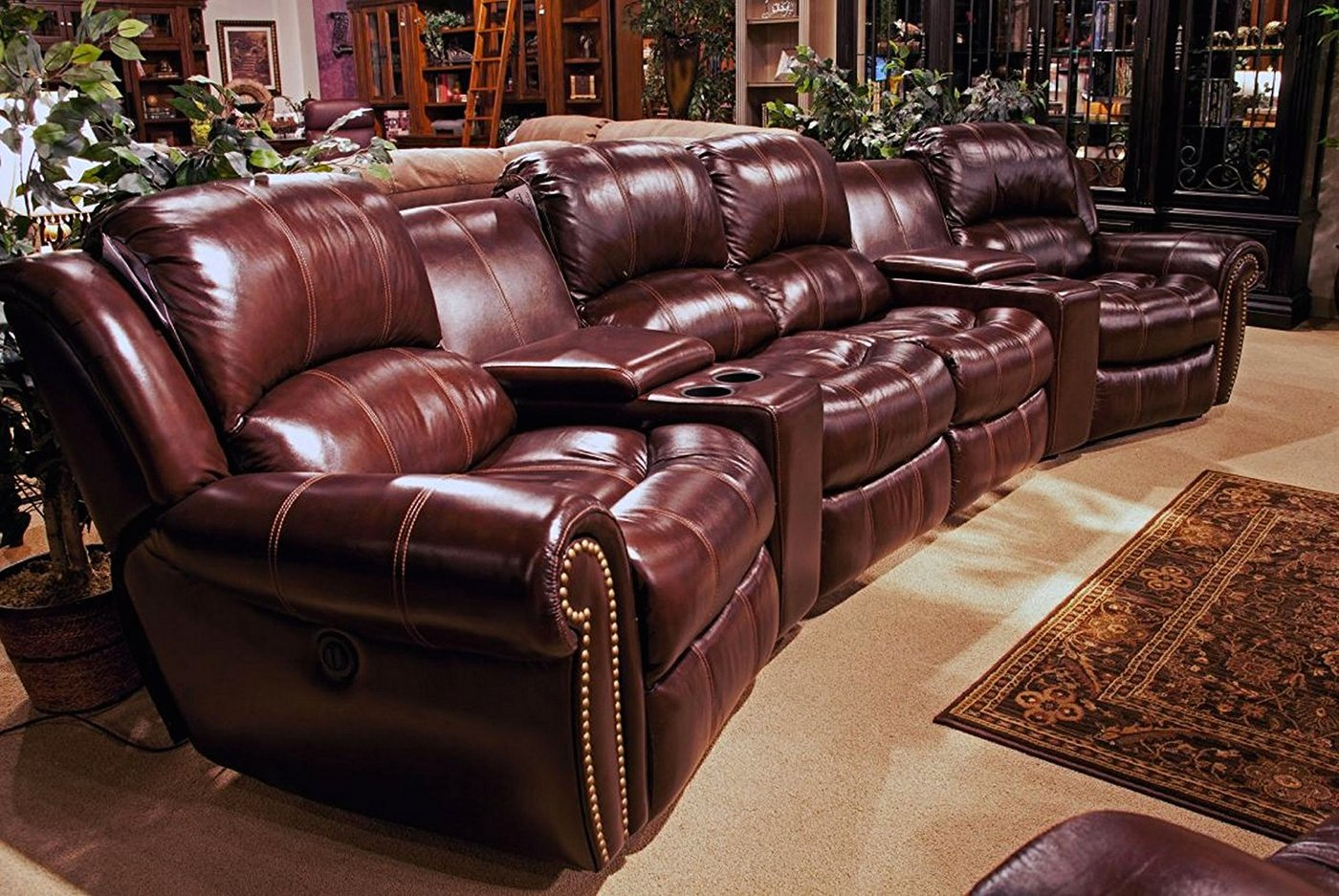 Stylish Recliner Parker Living Poseidon Cocoa Brown Leather Theater Style