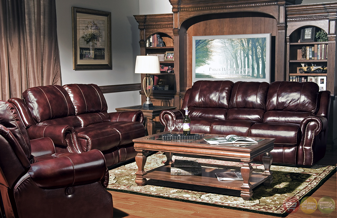 Sofa 84 Inch Parker Living Zeus Merlot Leather Power Reclining Sofa Set