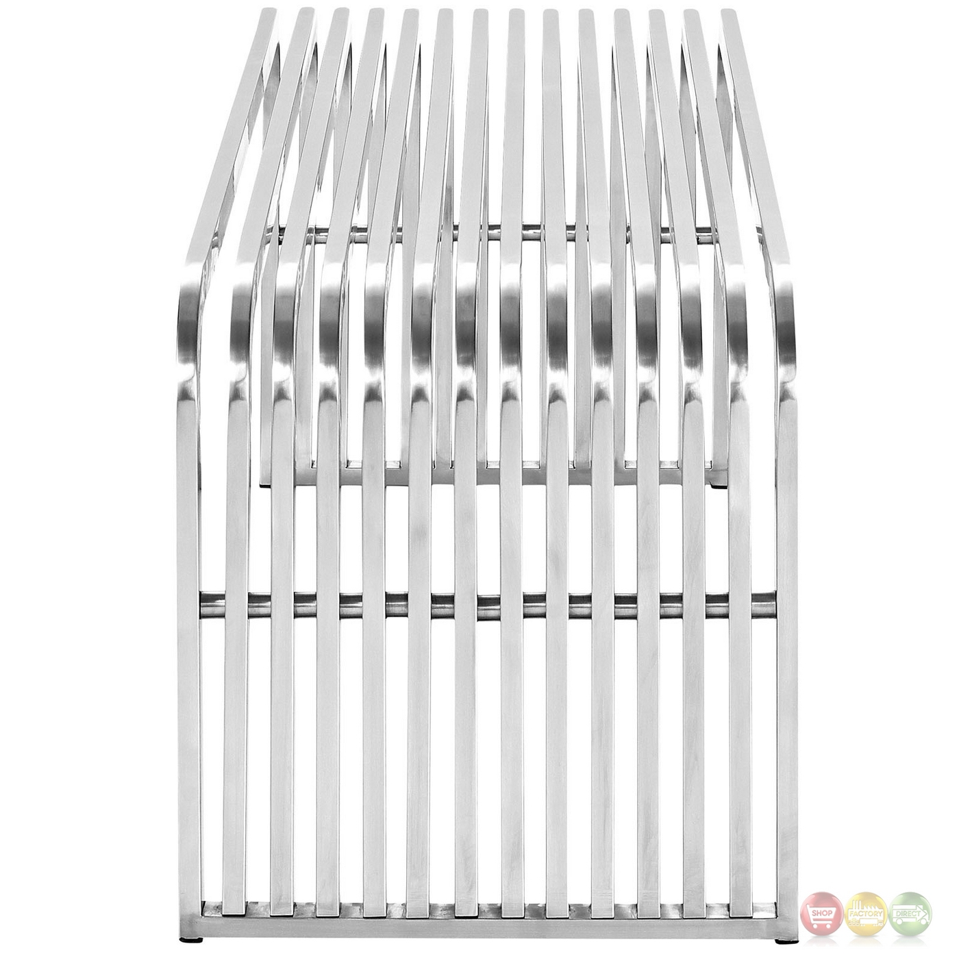 Contemporary Stainless Steel Flatware Pipe Modern Curved Edge Slatted Bench In Stainless Steel