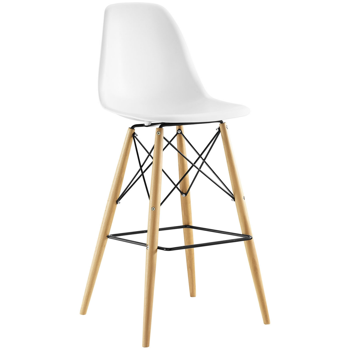 Modern White Bar Stools Pyramid Modern Molded Plastic Bar Stool With Wood Legs White