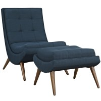 Ramp Modern Upholstered Lounge Chair And Ottoman With Wood ...