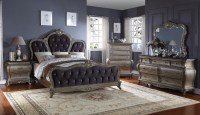 Roma French Bombe Crystal Tufted 4-Piece King Bedroom Set ...