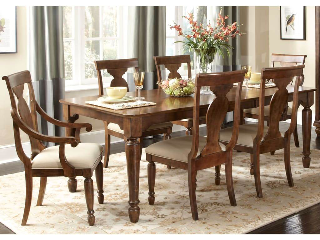 Lounche Dining Set Rustic Cherry Rectangular Table Formal Dining Room Set