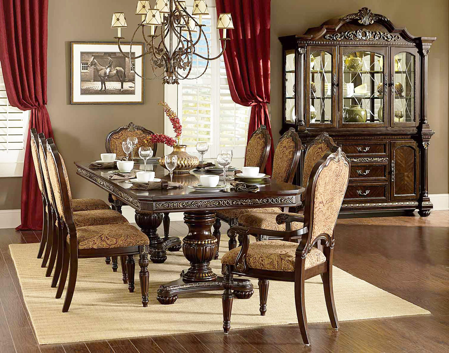 Dining Room Furniture Images Cleopatra Ornate Traditional Cherry Formal Dining Room