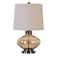 Sava Stylish Ribbed Amber Glass Accent Table Lamp With ...
