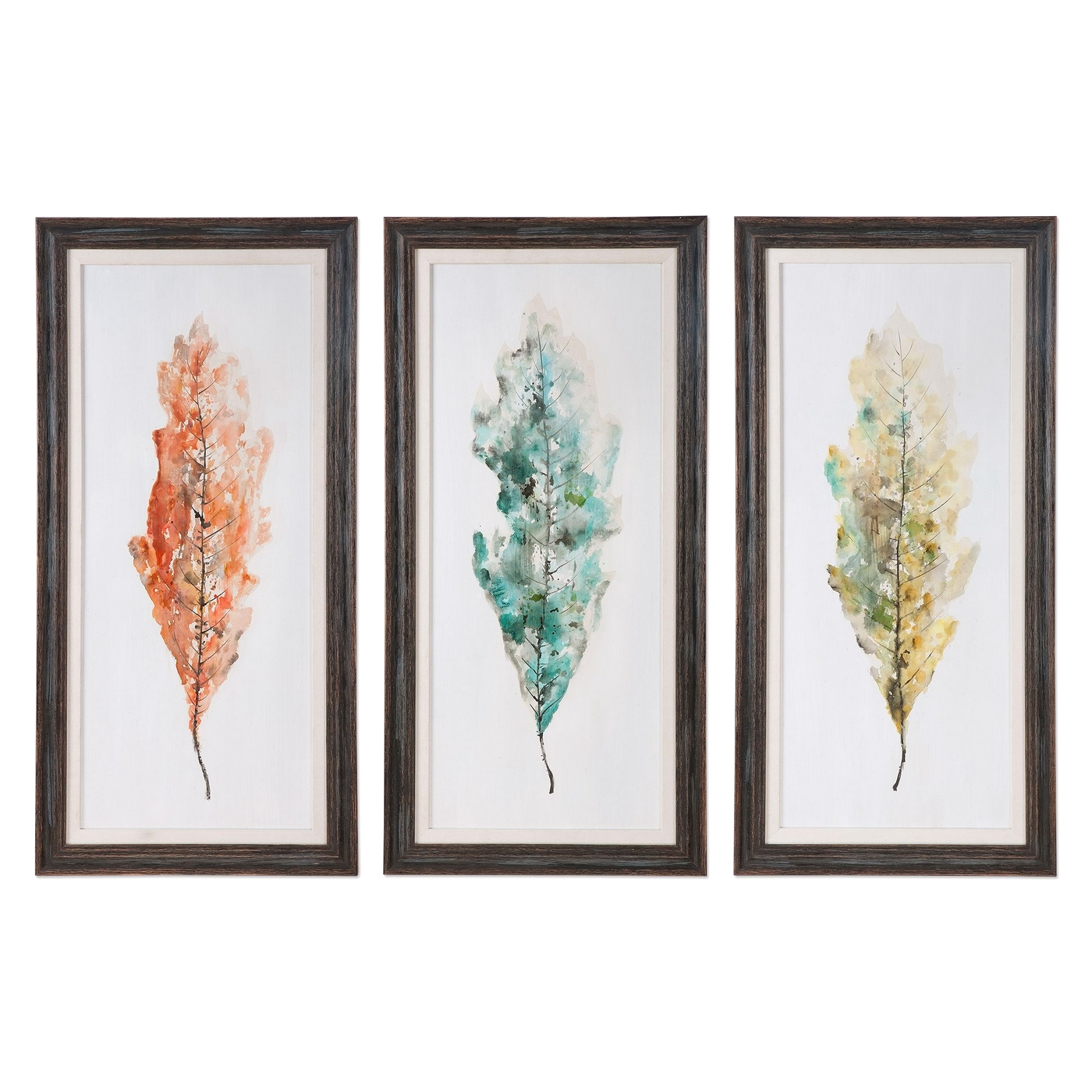 Framed Wall Art Sets Of 3 Set Of 3 Hand Painted Tricolor Leaves Wall Art On Pine