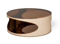 Solar Eclipse Futuristic Round Upholstered Coffee Table in ...