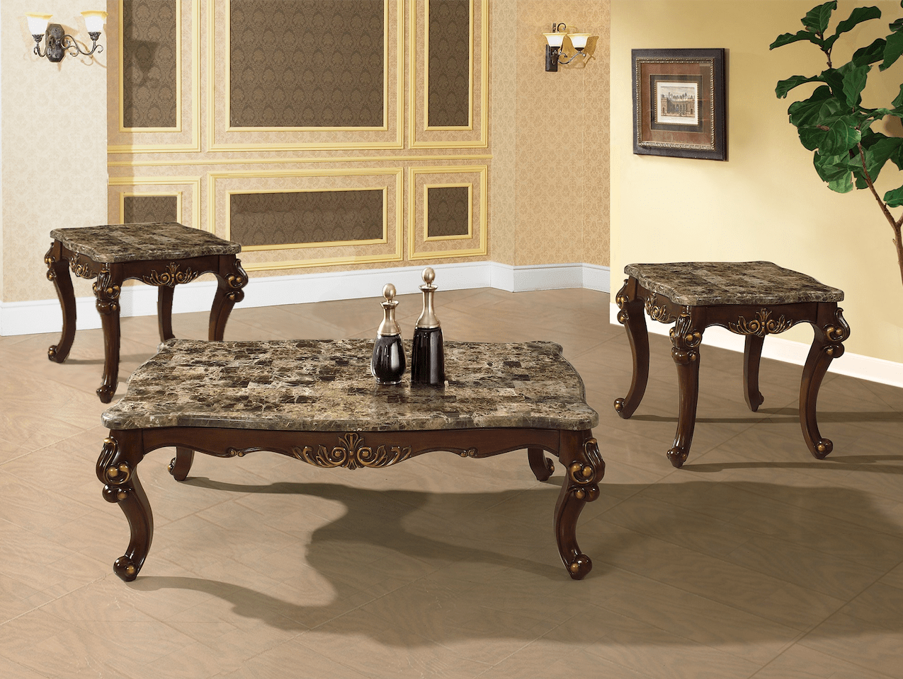 Marble Top Coffee Table Canada Traditional Occasional Cocktail Coffee Table End Table Set