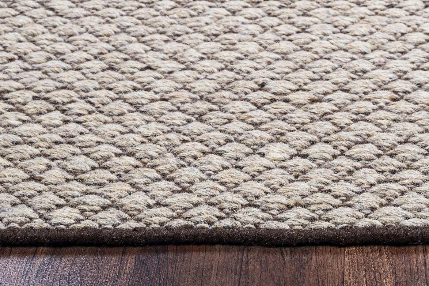 Woven Wool Rug Twist Textured Woven Pattern Wool Area Rug In Gray And Off