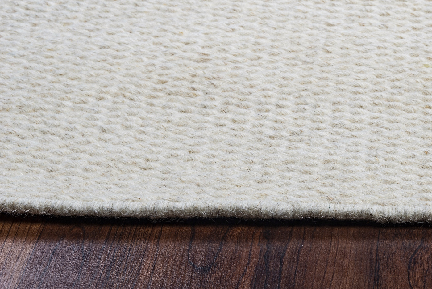 Woven Wool Rug Twist Textured Woven Pattern Wool Area Rug In Solid Off