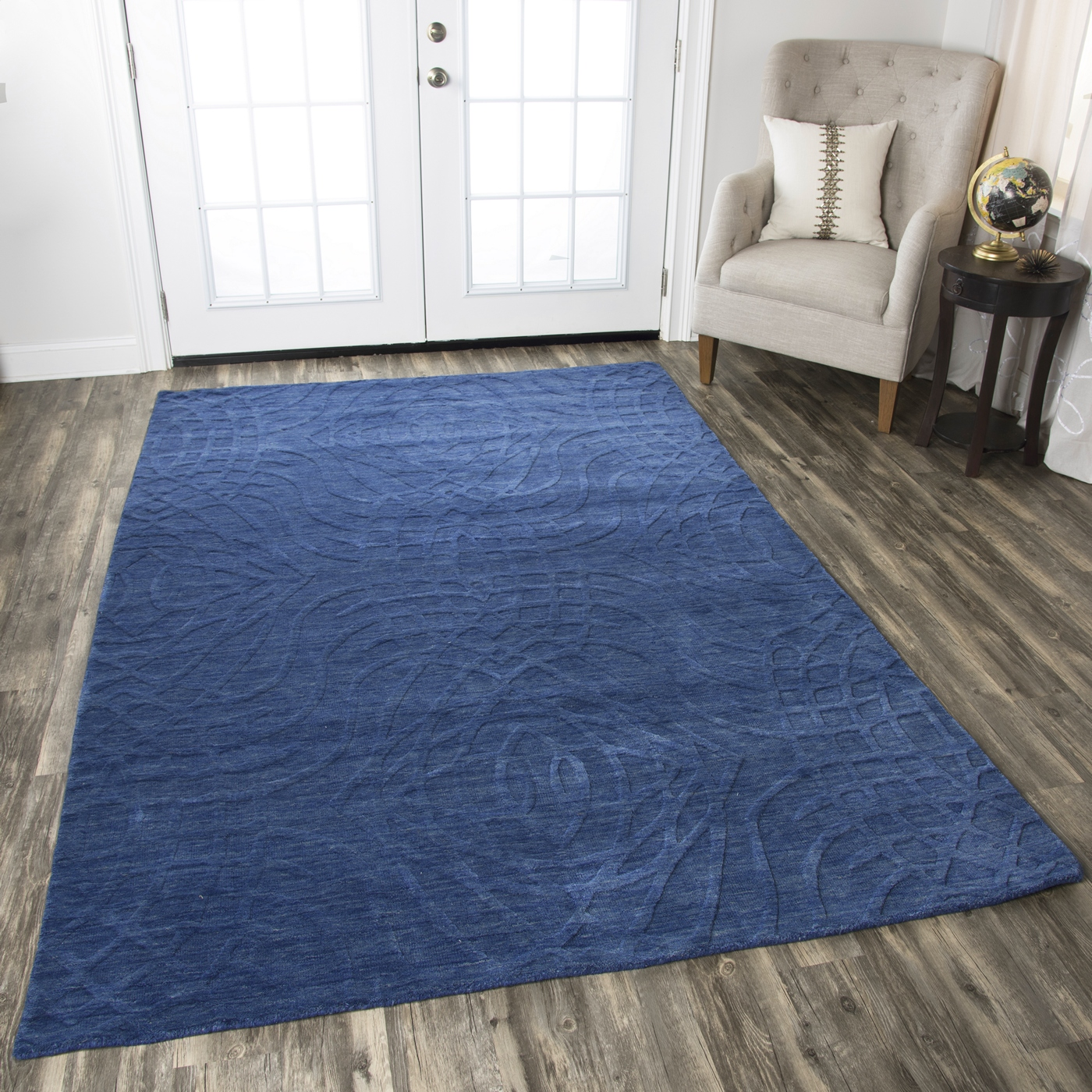 10 X 14 Area Rugs Uptown Abstract Ripple Pattern Wool Area Rug In Blue 10