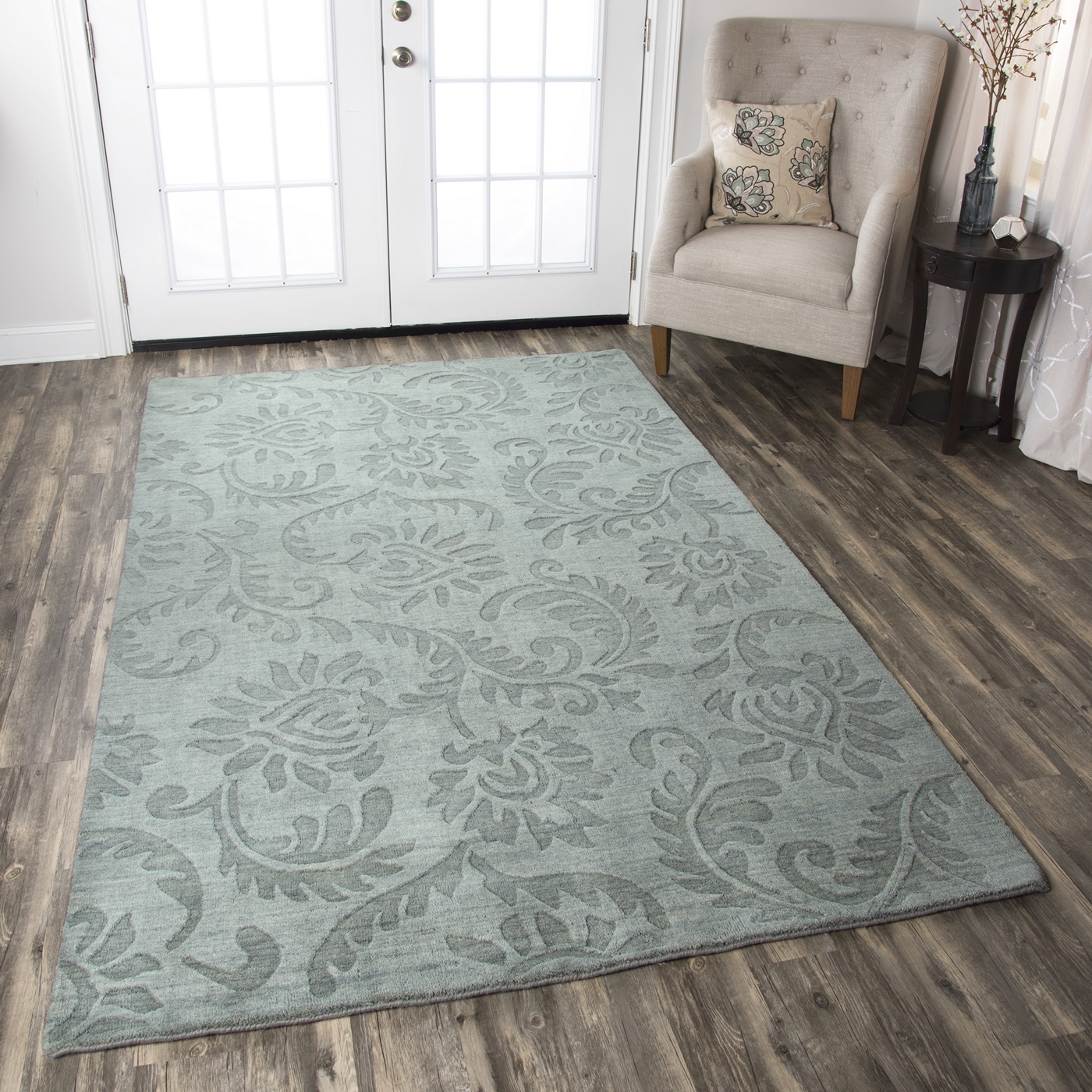 10 X 14 Area Rugs Uptown Floral Print Pattern Wool Area Rug In Grey 10 39 X 14 39