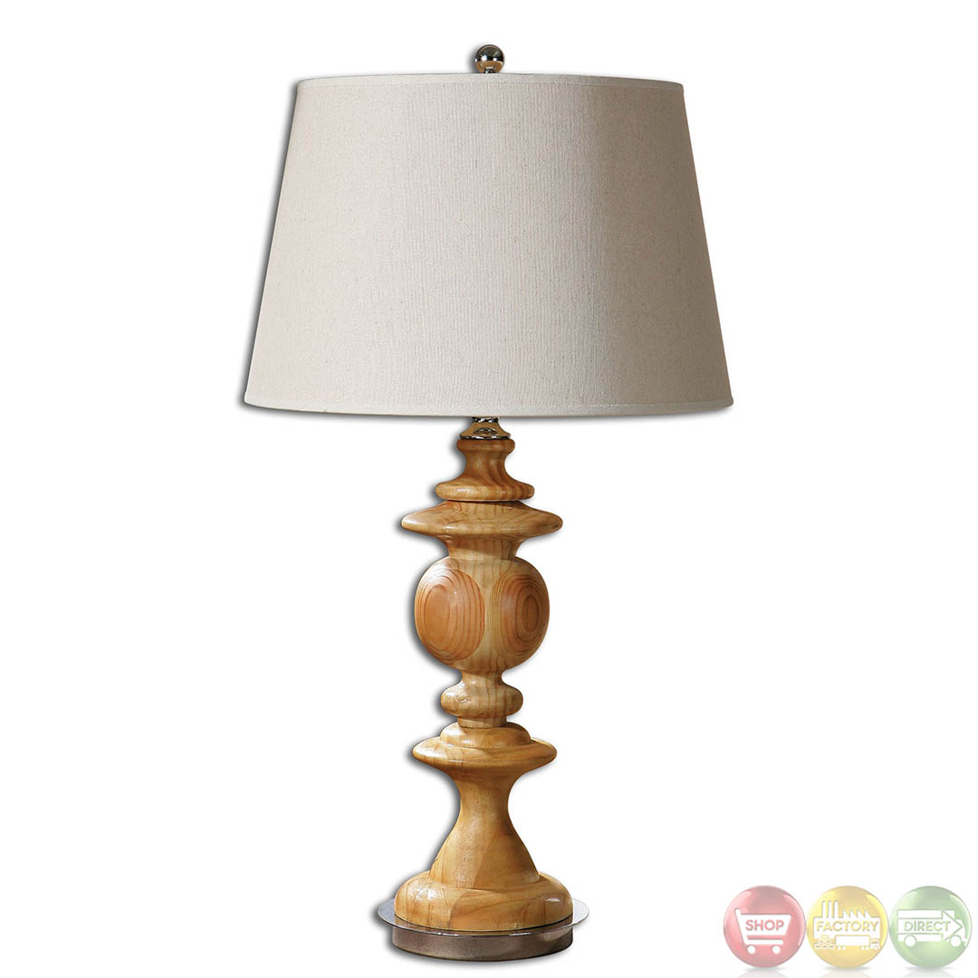 Real Wood Lamps Glenwood Bleached Solid Wood And Polished Nickel Table Lamp