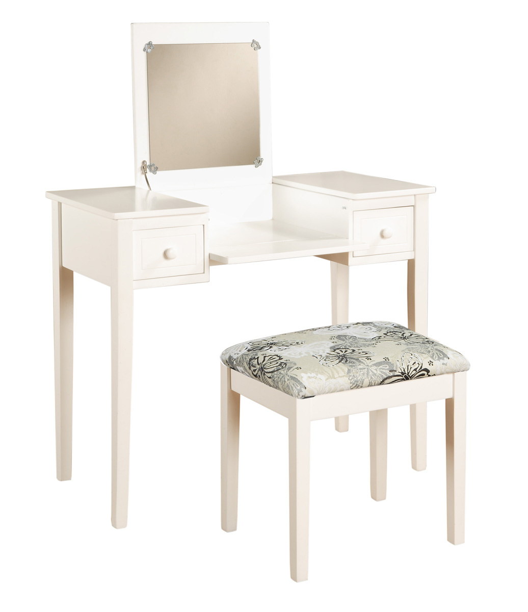 White Vanity Bench Seat White Finish Vanity Set With Butterfly Print Seat