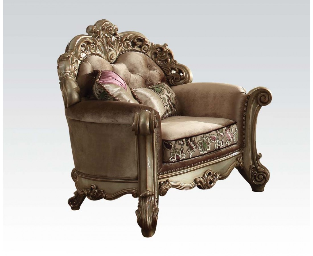 Vendome Crystal Tufted Bone Fabric Chair In Victorian Gold