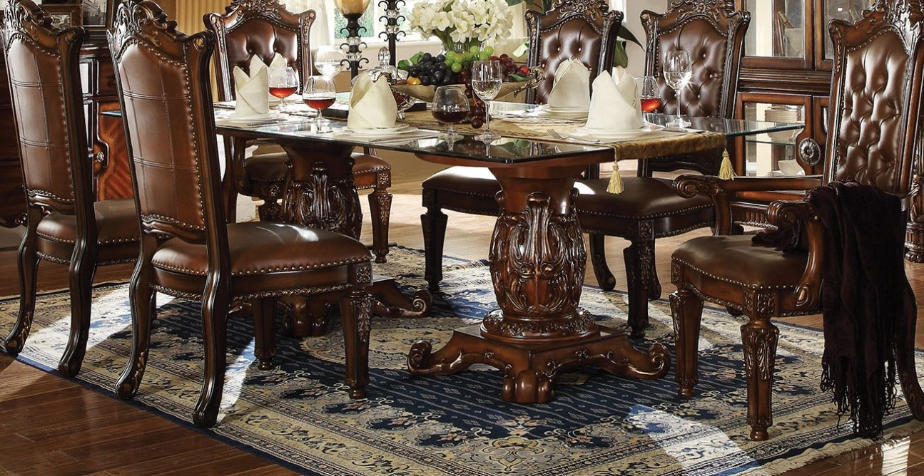 Vendome Formal 96quot Glass Top Double Pedestal Dining Table