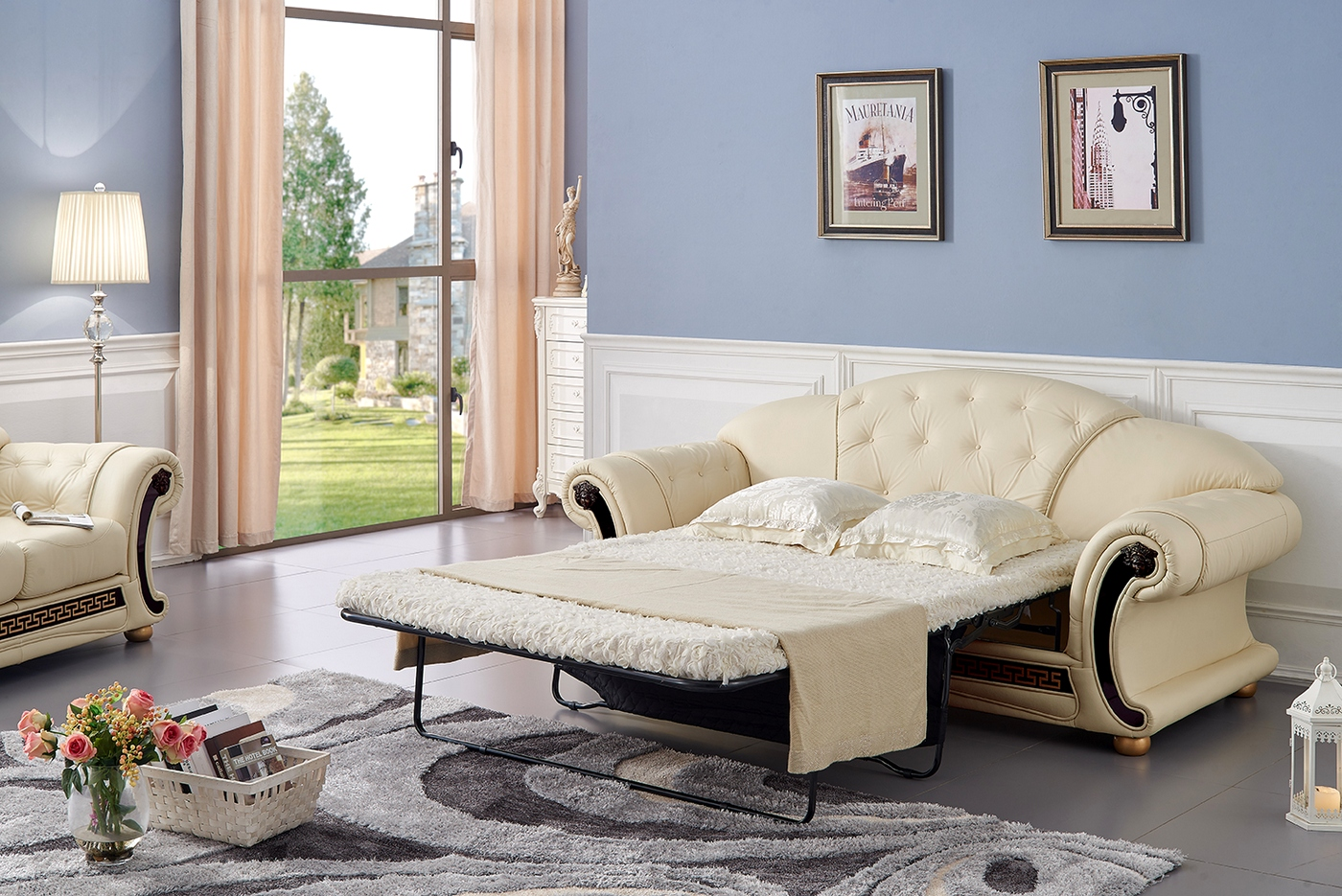 Living Room Furniture Ivory Sofa Versace Luxury Button Tufted Ivory Italian Leather Pull