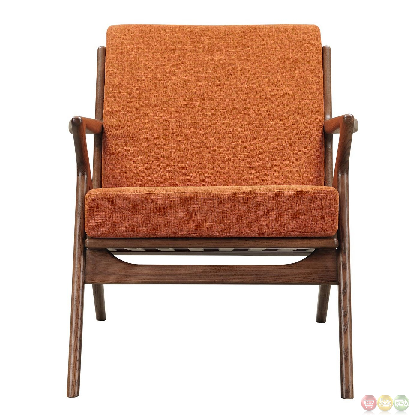 Orange Mid Century Modern Chair Zain Mid Century Modern Orange Fabric Chair With Wooden