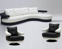 Black and White Ultra Modern Full Leather Sectional Sofa ...