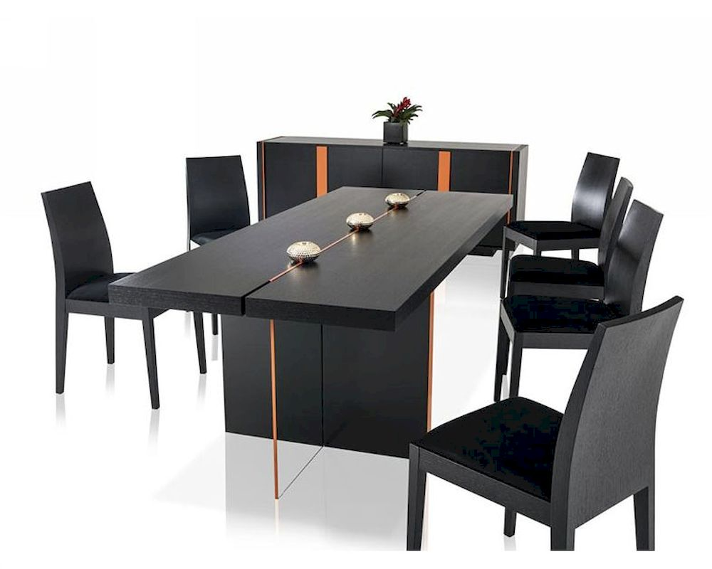 Standard Kitchen Table Top Height Contemporary Black Oak Dining Set W/ Floating Table