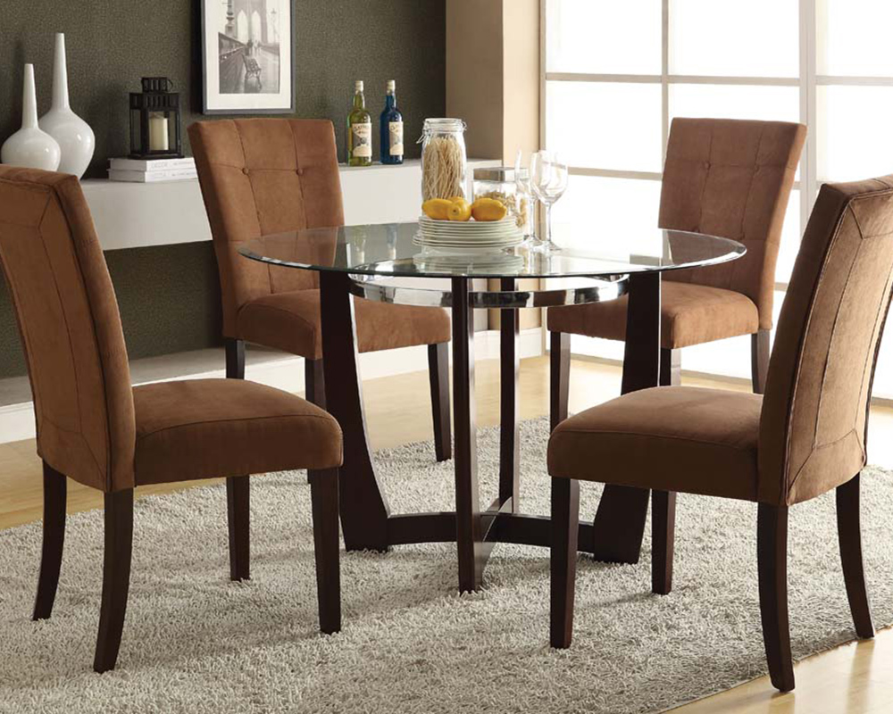Dining Set w/ Glass Round Table Baldwin by Acme Furniture