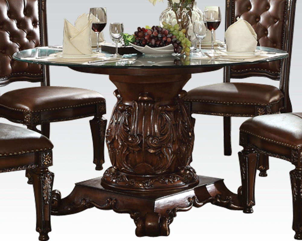 Dining Set W Round Glass Table Vendome Cherry By Acme