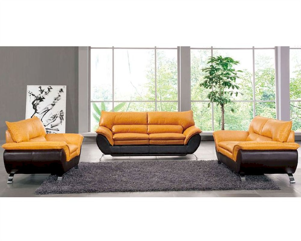 Two Tone Leather Sofa Set European Design 33ss221