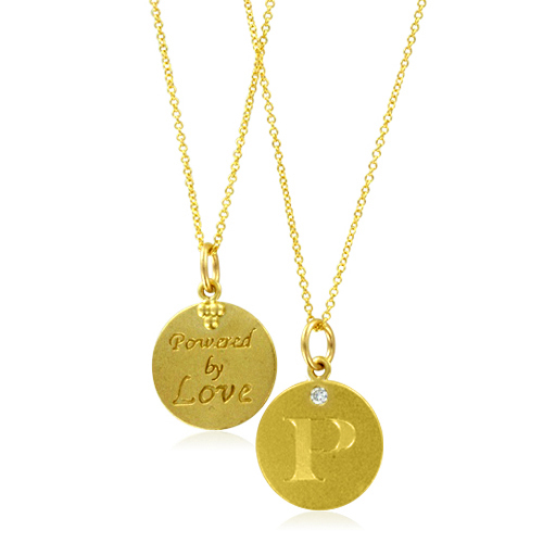 Initial Necklace, Letter P Diamond Pendant with 18k Yellow Gold Chain - p&l statement example