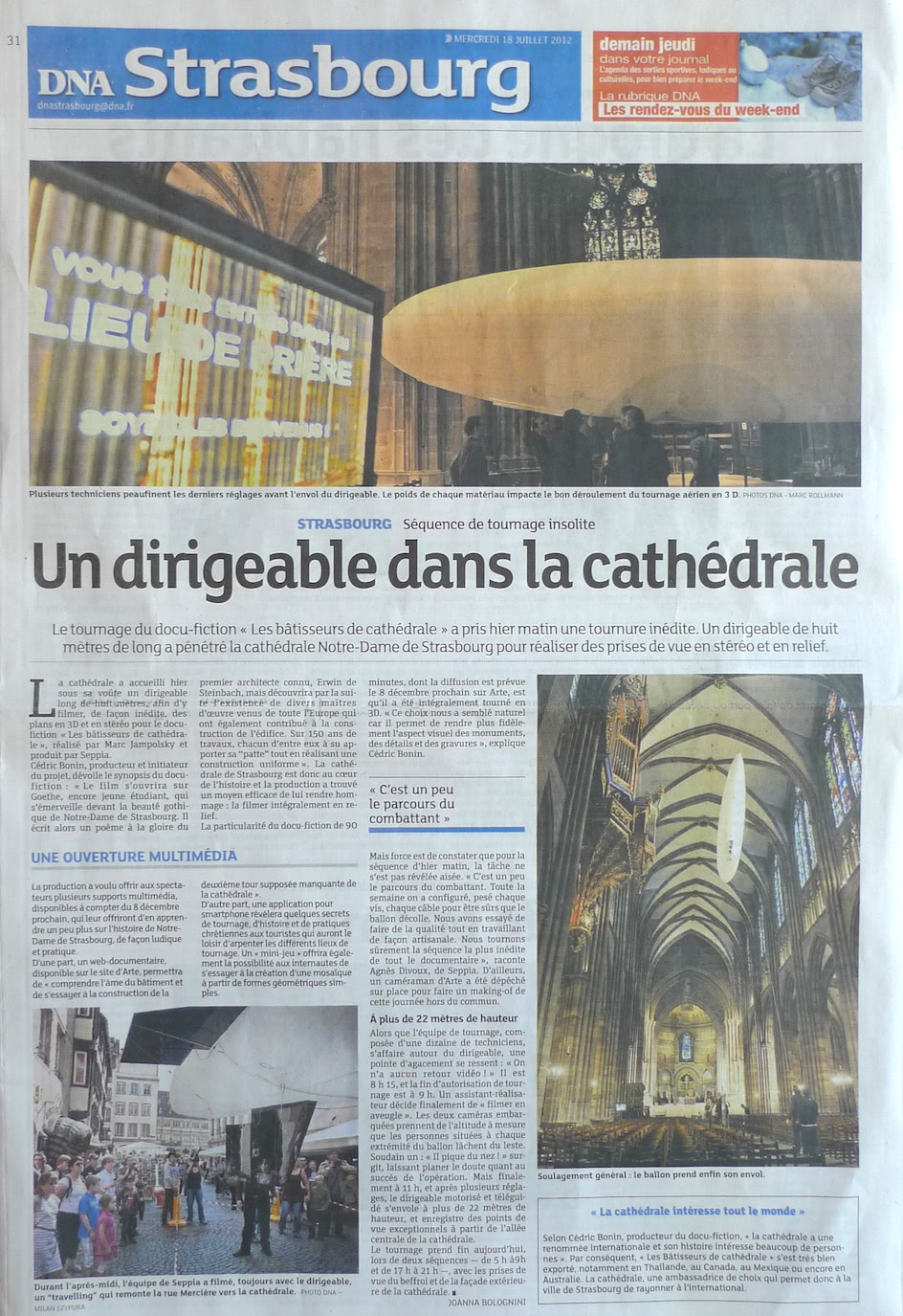 Arte Journal Weekend 2012 07 18 Dna Dirigeable Cathedrale Strasbourg Seppia