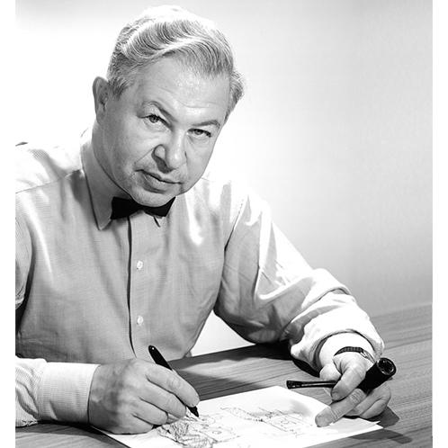 20世紀を代表する建築家兼デザイナーのヤコブセン。建物内部の照明やドアノブ、食器に至るまで一貫して手掛けた。