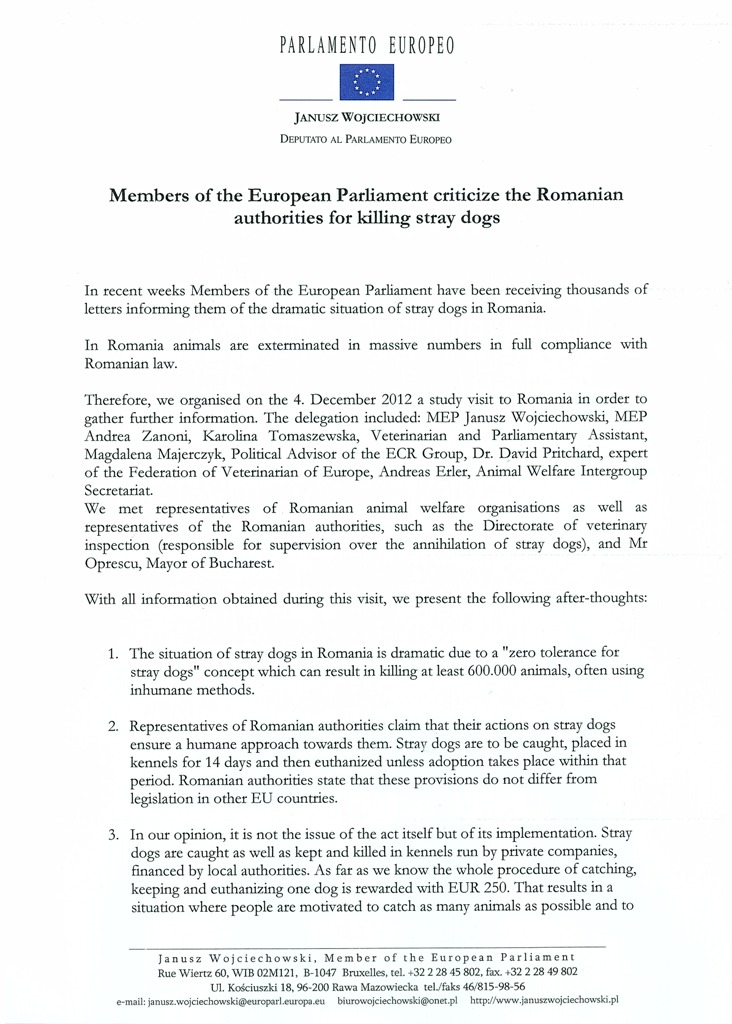 Romania Delegation of the European Parliament come face to face - delegation letter