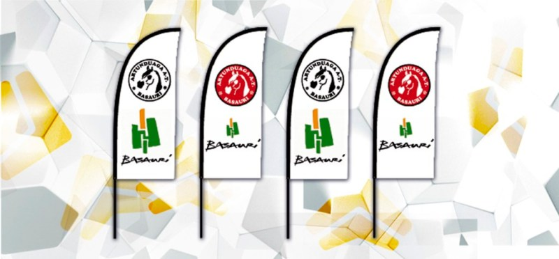 Diseño e impresión de Fly Banners (banderolas) para la Artunduaga A.T. de Basauri