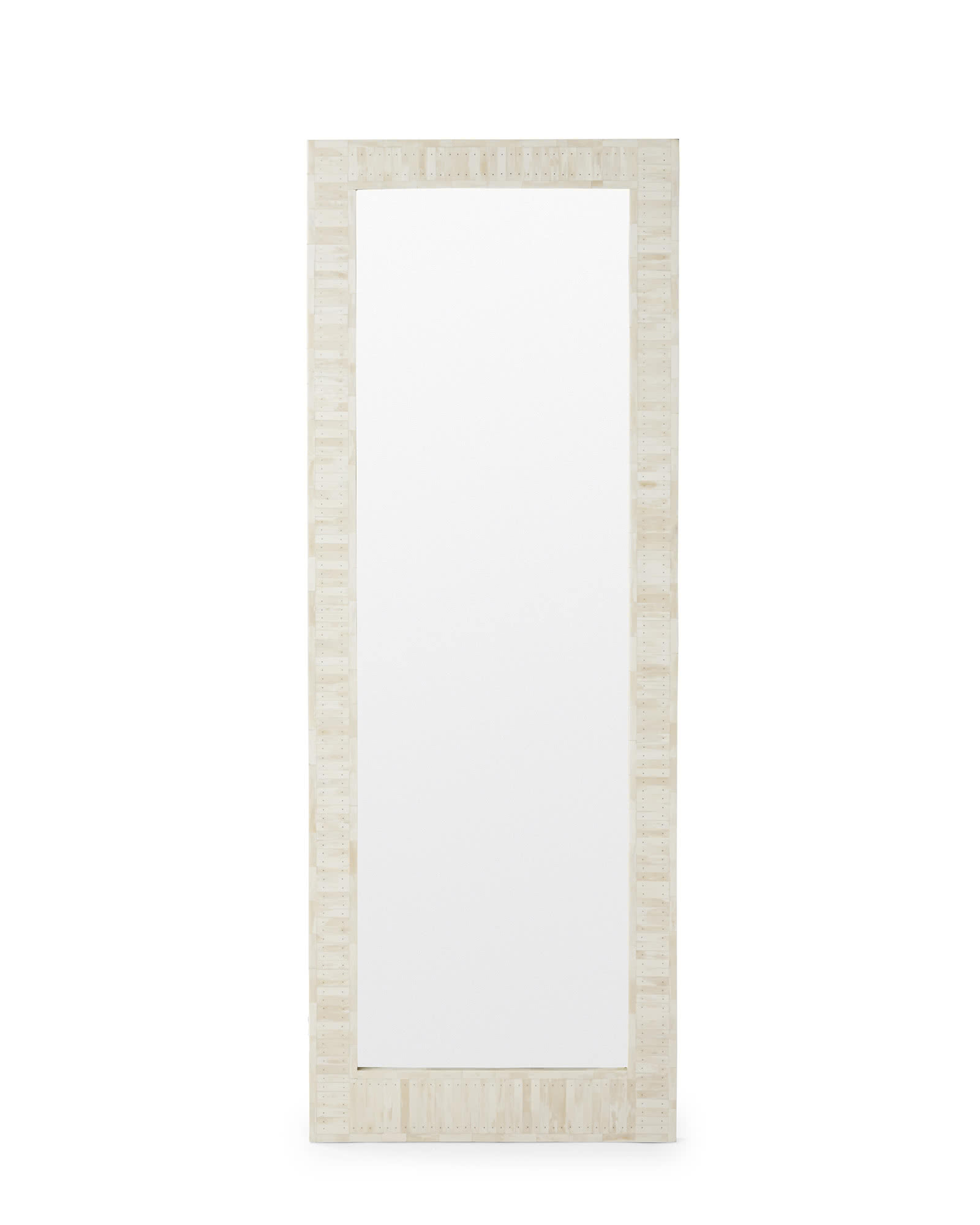 White Floor Mirror Cyprus Bone Inlay Floor Mirror