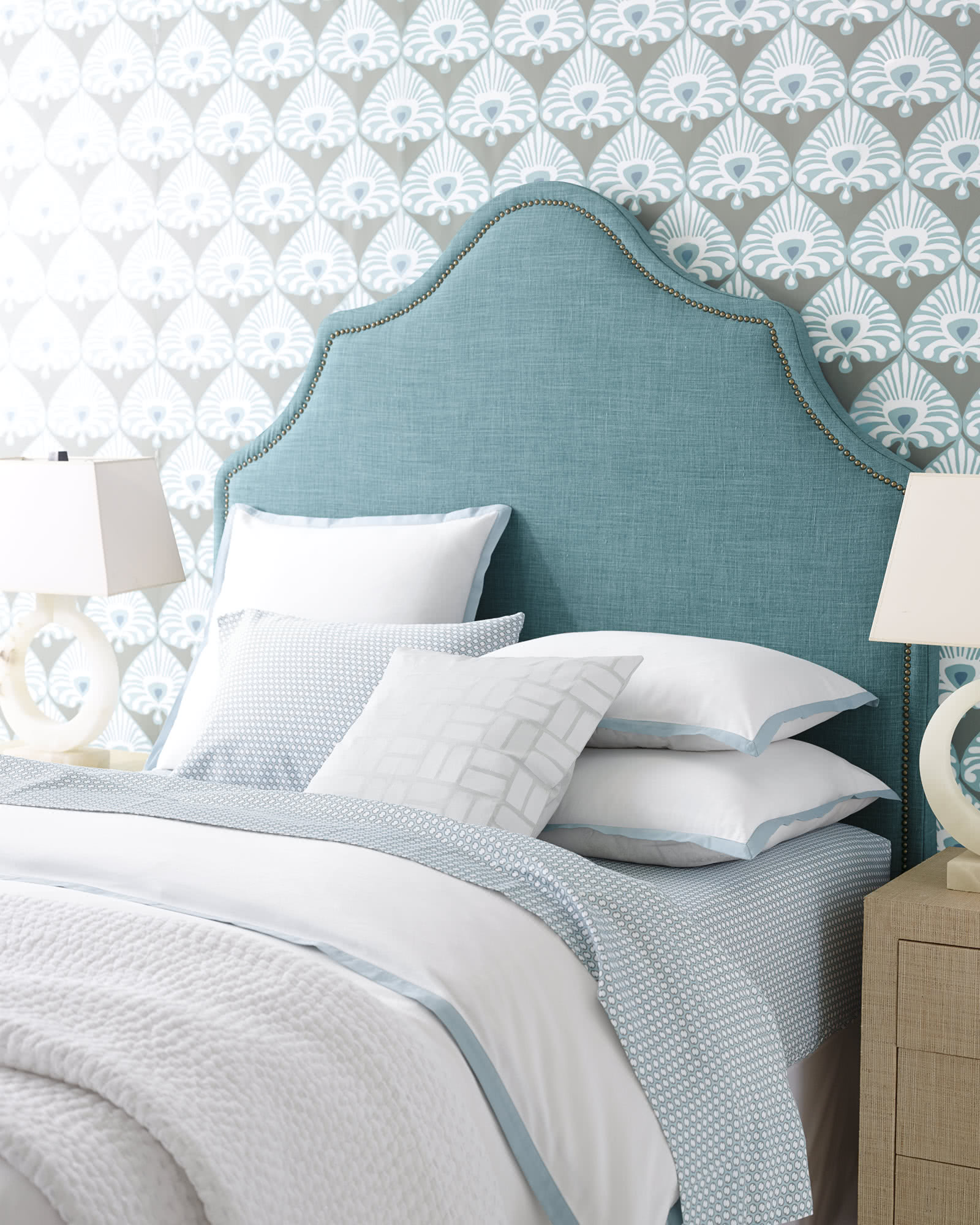 Navy Grey Bedroom Ideas Border Frame Duvet Cover - Serena & Lily Site