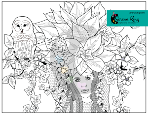 Maiden Tree Face Coloring Page