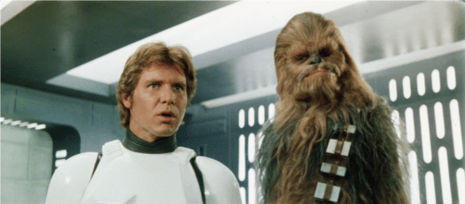 """""""Boy, you said it, Chewie."""" One option is to leave Han Solo undubbed and just have him talk to all the characters like he does with Chewbacca."""