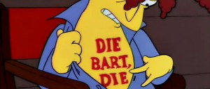 "The Ayatollah also clarified that the tattoo on his chest is German for ""death to Bart Simpson's encouraging people to eat pork and not cow."""