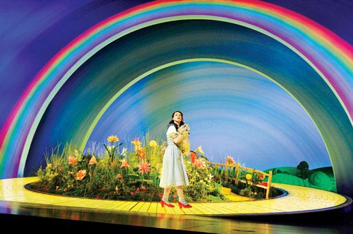Dorothy sobre el camino de baldosas amarillas