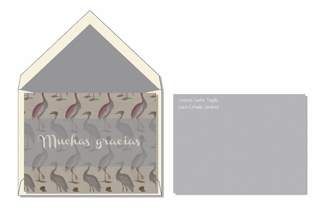 Tarjeta agradecimiento flamencos gris Alloy