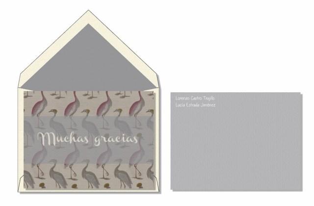 Tarjeta de agradecimiento flamencos gris