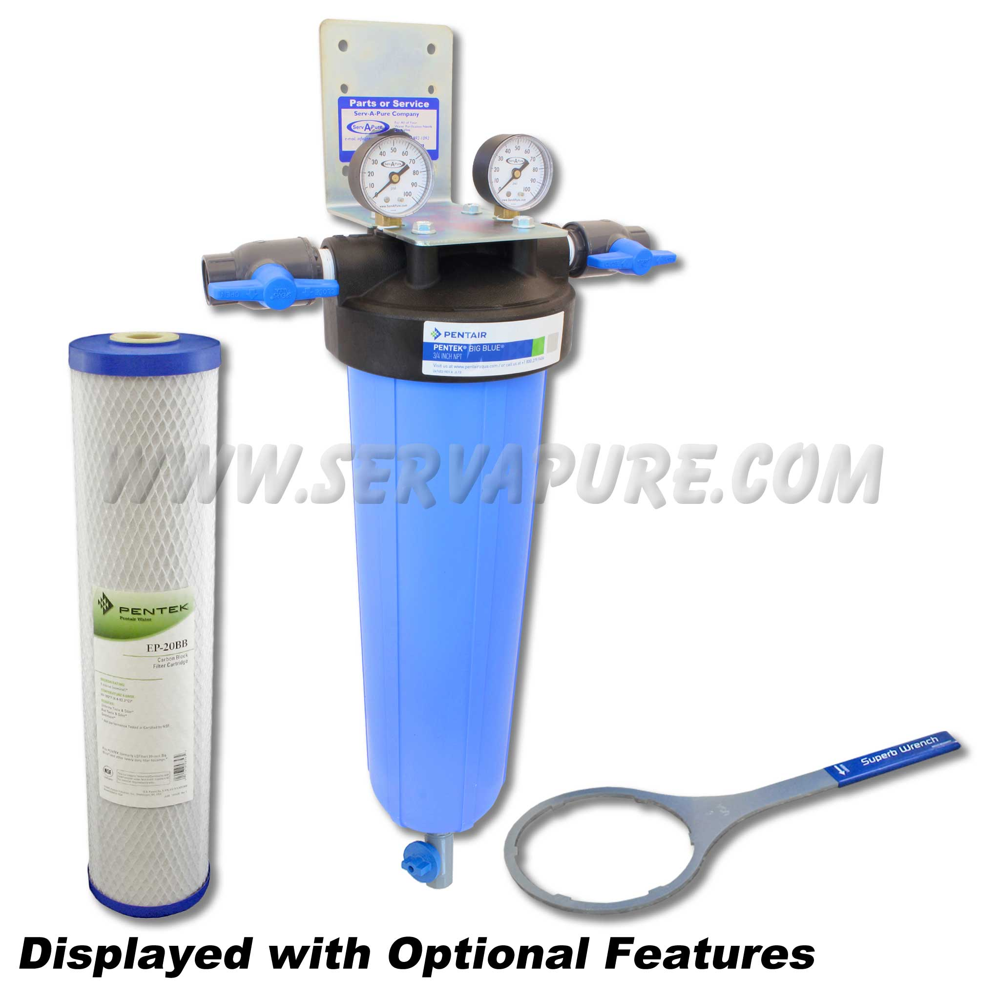 Carbon Water Filter System Serv A Pure 712002 Bbfs 2 Tor 20 Big Blue Whole House Taste Odor Removal Water Filter System