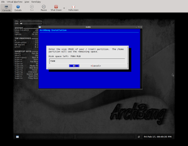 Archbang - hard drive partitioning