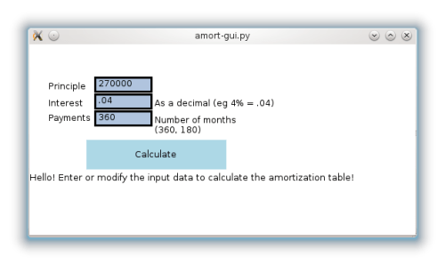 Amortization gui in QML