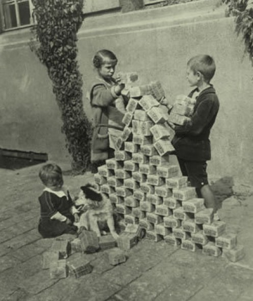 German Kids using inflationary money as blocks in 1923 - Bitcoin is supposed to be immune to this