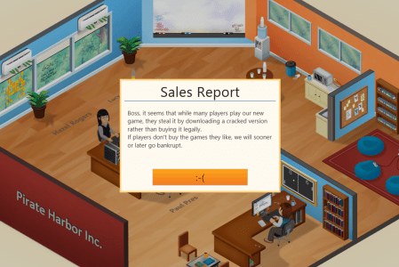 Greenheart Games - Game Dev Tycoon - Message in Illicit Copies of the Game