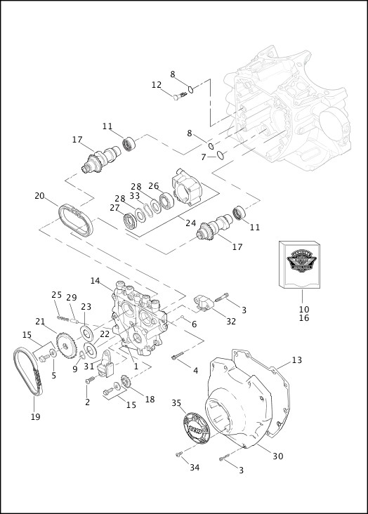 crankcase and engine oil filter - twin cam 110