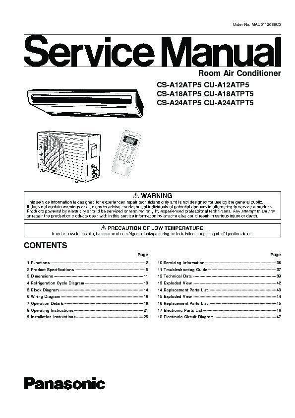 Panasonic Air Conditioner Service Manuals - FREE Download