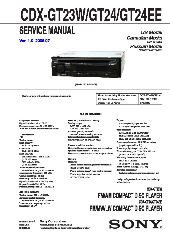 Sony CDX-GT24, CDX-GT28 Service Manual - FREE DOWNLOAD