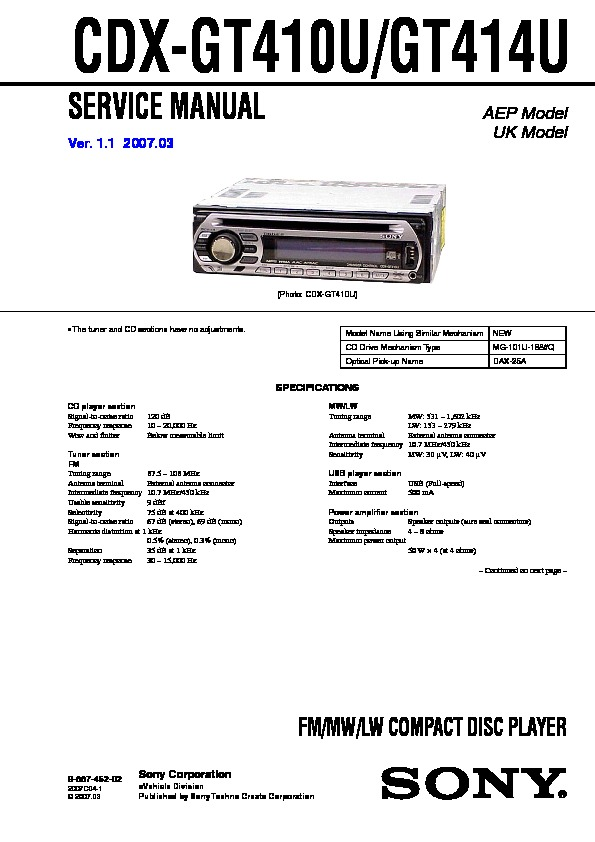 Sony Car Audio service manuals - Page 11